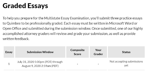 Quimbee Bar Review - Graded Essays