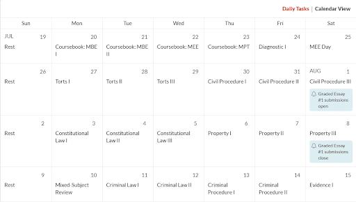 Quimbee Bar Prep Course - Study Calendar